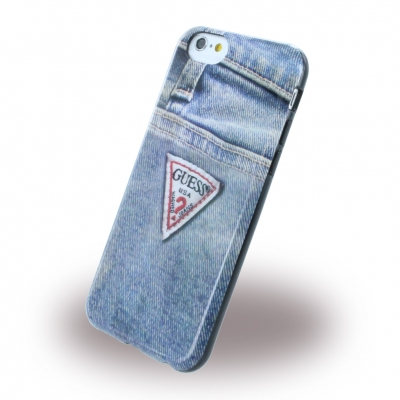 guess back cover clipon case tasche handytasche f r iphone 6s jeans denim style ebay. Black Bedroom Furniture Sets. Home Design Ideas
