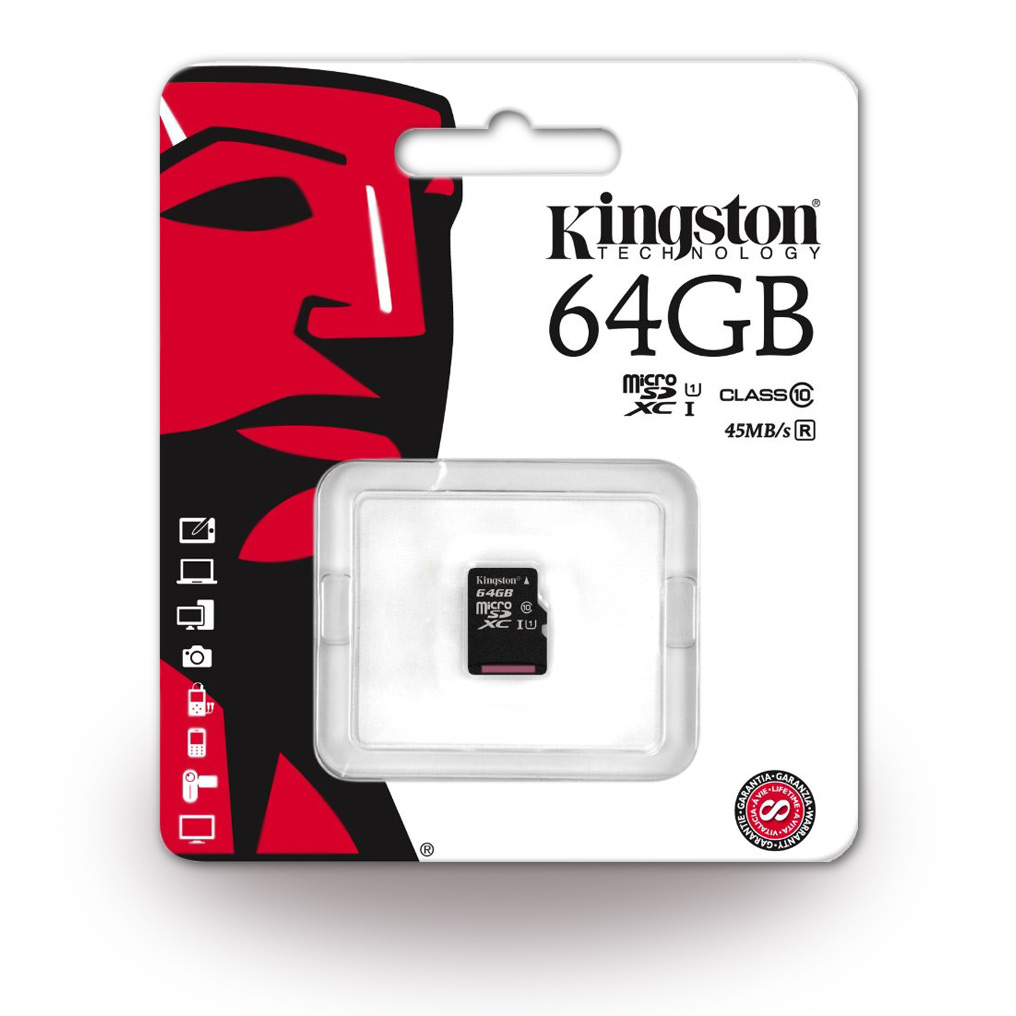 Kingston - SDC10G2/64GB - 64GB MicroSDXC Memory Card/ SD Card + SD Adapter - Class 10 > Universal