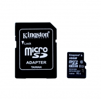 Kingston - SDCS/16GB - 16GB MicroSDHC Speicherkarte/ SD Karte + SD Adapter - Klasse 10 >