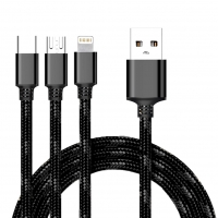 Cyoo - 2in1 USB Charging + Data Cable - Micro USB, USB Type-C and Lightning