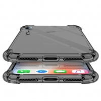 Cyoo - Shockproof Fallschutz Four Coners - Apple iPhone XR - Transparent Schwarz Case Cover Schutzhülle Handyhülle Outdoor