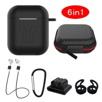 Cyoo - 6in1 Silicon Cover with Accessory -  Black - Apple AirPods