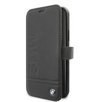 BMW - Logo Imprint  Leather Book Case -  Apple iPhone 11 Pro - Black