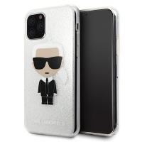 Karl Lagerfeld - Iconic  Glitter Case - Apple iPhone 11 Pro Max - Silver