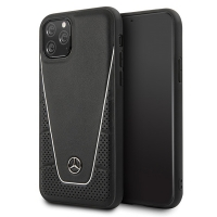 Mercedes Benz - Quilted Genuine leather Case - Apple iPhone 11 Pro Max  - black