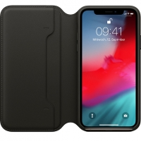 Apple - MQRV2ZM/A Leather Case Folio - Apple iPhone X, Xs - Black