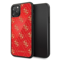 Guess - 4G Dobble Layer Glitter Case - Apple iPhone 11 Pro Max - Rot - Cover - Schutzhülle