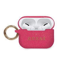 Guess - Silicon Cover Ring Printed Logo Fuchsia Guess - Airpods Pro