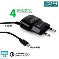 Puro - Qualcomm QC 3.0 Micro USB - Quickcharger  - 18W 2A - Black
