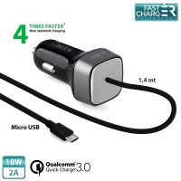 Puro - Qualcomm QC 3.0 Micro USB - Car quick Charger - 18W 2A - Black