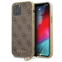 Guess - 4G Charms -  iPhone 12, 12 Pro (6.1) - brown - Hard Case