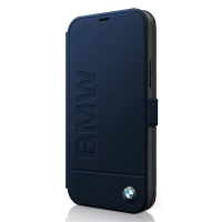 BMW - Logo Imprint  Leather Book Case - iPhone 12, 12 Pro (6.1) - navy Blue
