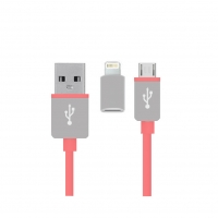 2in1 Charging + Data Cable - Micro USB and Apple > Pink
