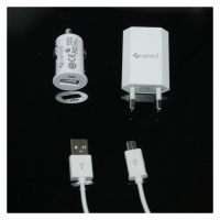 3in1 Set - Car Charger + Travel Charger + Data Cable - Micro USB Adapter Cable