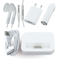5in1 - KFZ Ladekabel + Netzteil + Datenkabel + Headset + Dockingstation - Apple iPhone 4, 4S