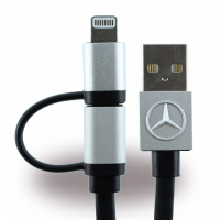 Mercedes Benz - MECBUBK - 2in1 Charging + Data Cable - Micro USB and Lightning - Apple iPhone 7, 7Plus, 6, 6Plus, 5se