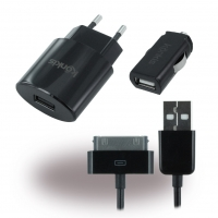 3in1 Premium Combo - Car Charger + Travel Charger + Data cable - Apple iPhone 4, 4S