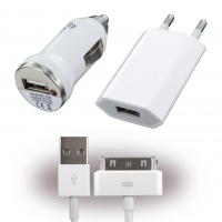3in1 - Car Charger + Travel Charger + Data Cable - Apple iPhone 4, 4S